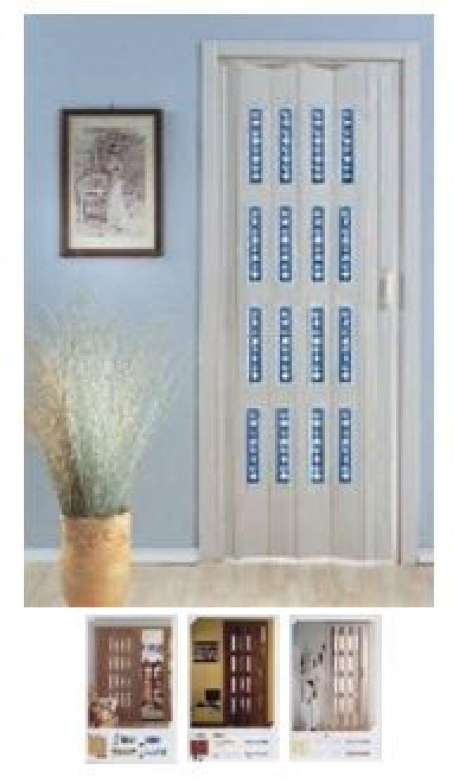 Porta scorrevole a soffietto DELTA con vetri decorati 1