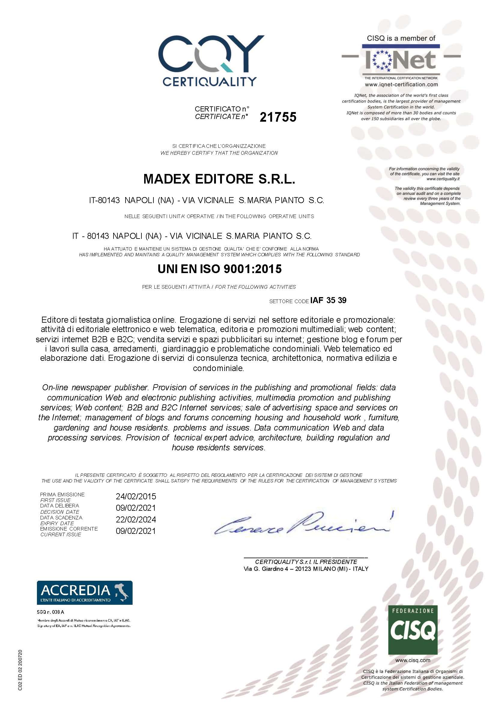 Certificato ISO 9001:2015 IQNET 1