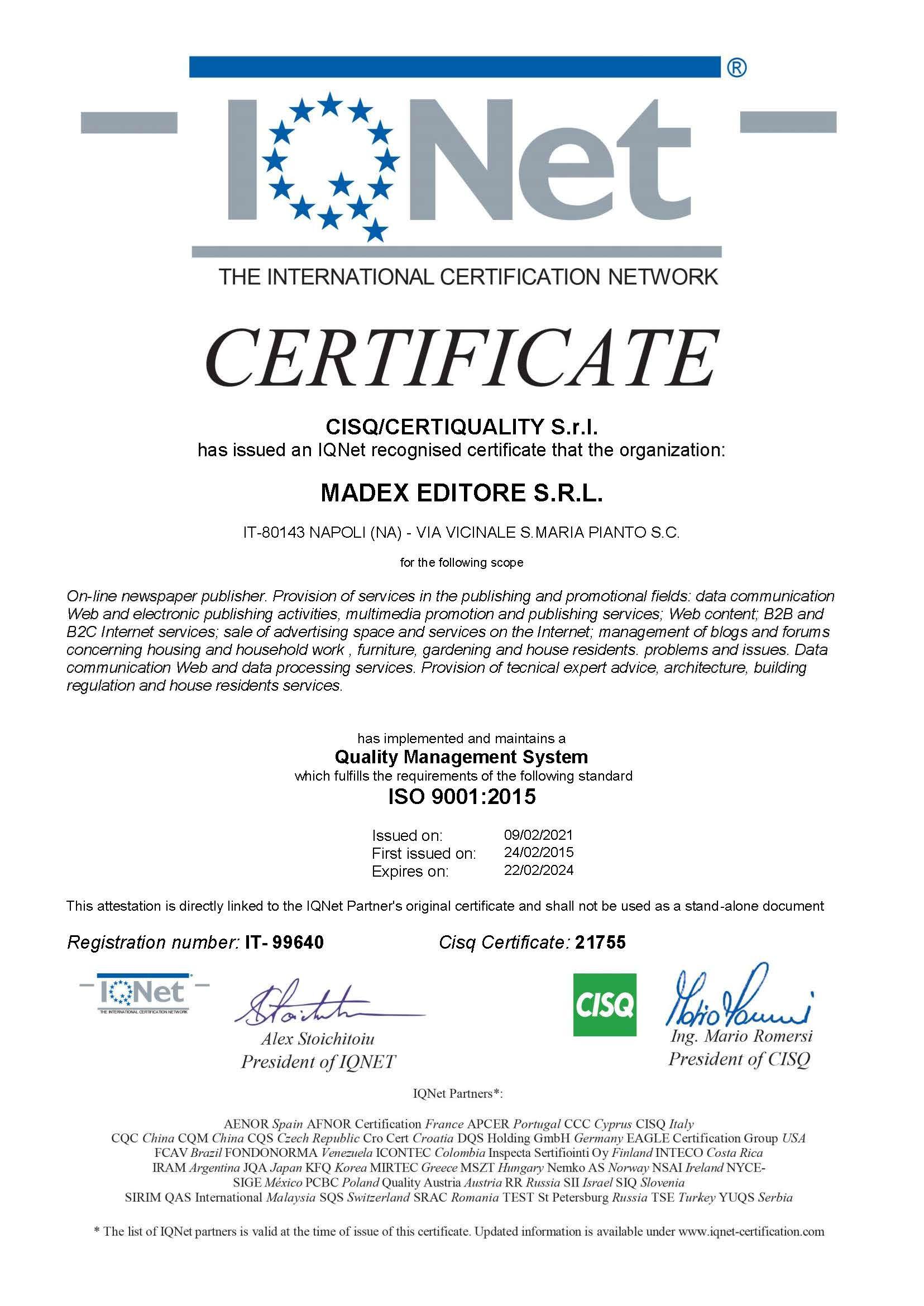 Certificato ISO 9001:2015 IQNET 2