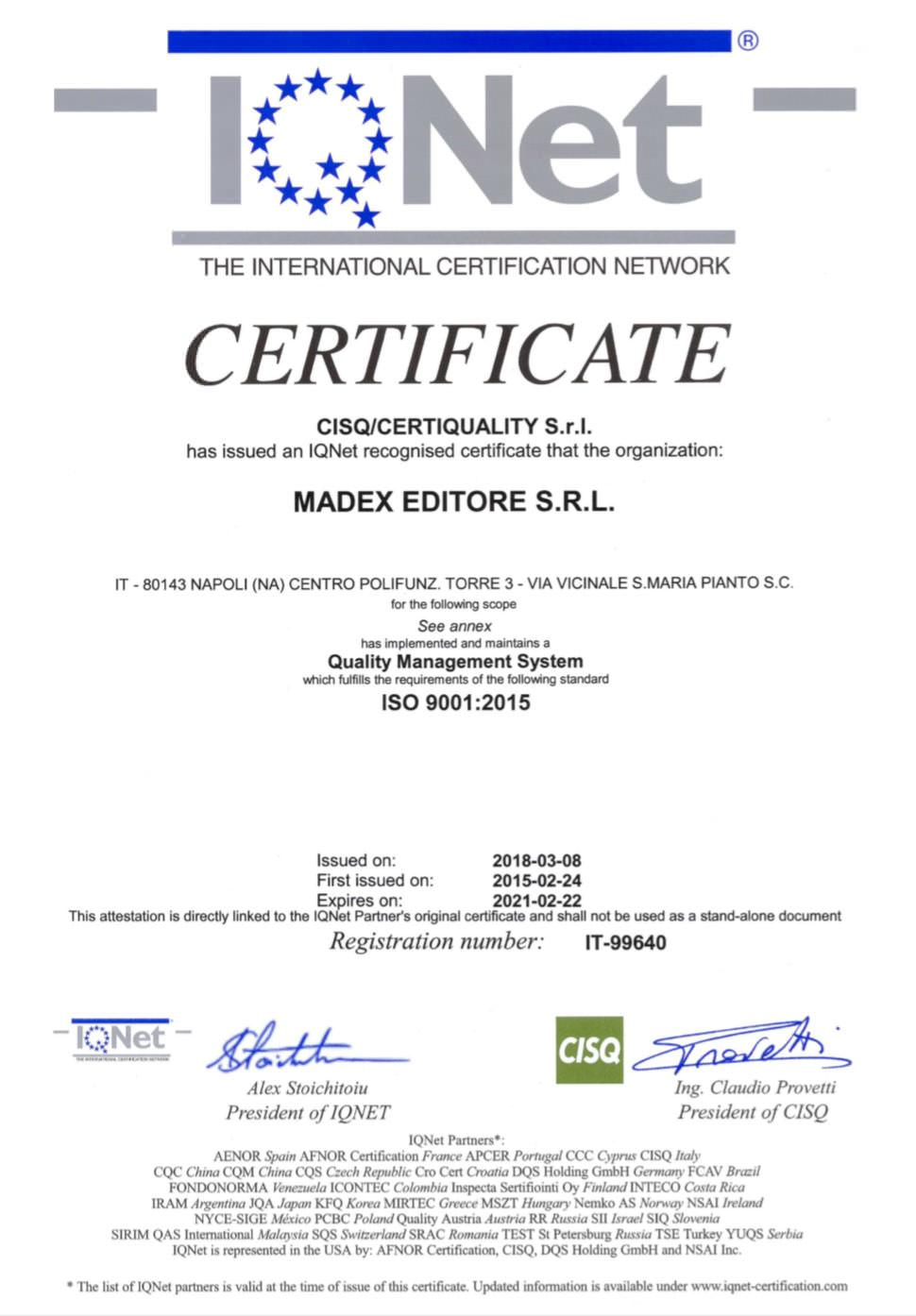 Certificate ISO 9001:2015 IQNET 1