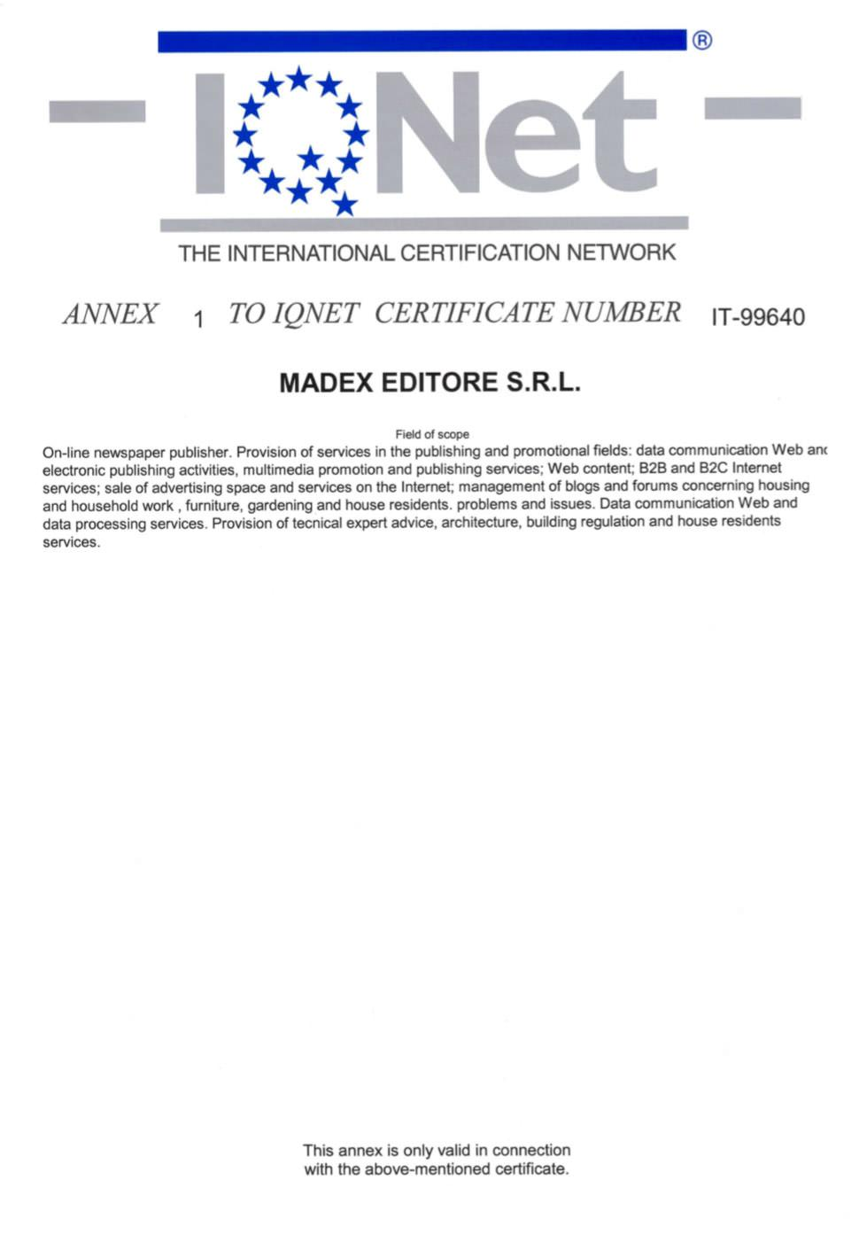 Certificate ISO 9001:2015 IQNET 2
